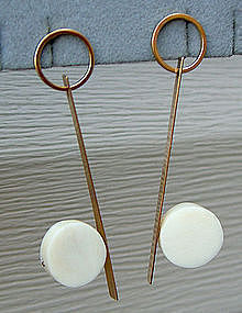 Betty Cooke Modernist 14k Gold Earrings
