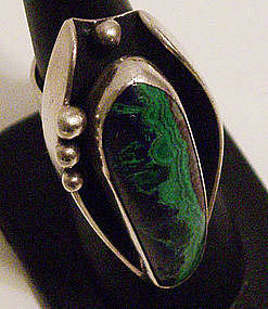 Paul Miller American Modernist Sterling Ring w/ Stone