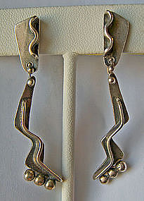 Ed Wiener Modernist Sterling Silver Earrings