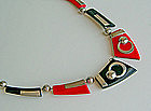 Bengel Art Deco Modernist Chrome and Galalith Necklace