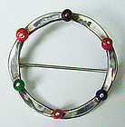 Ed Levin Modernist Sterling Pin w/Color Stones