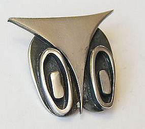 Francis Holmes Boothby Modernist Sterling Owl Pin FHB