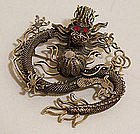 Early Vintage Chinese Silver Dragon Brooch