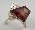Modernist Jewelry Sterling Citrine Ring