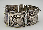 Peruvian Silver Panel Bracelet Ethnic Peru