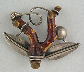 Modernist Jewelry Rebajes Sterling Musanga Branch Pin