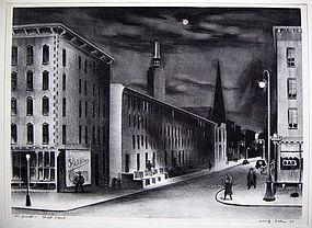 "Adolf Dehn Lithograph - ""Street Scene"" 1937"