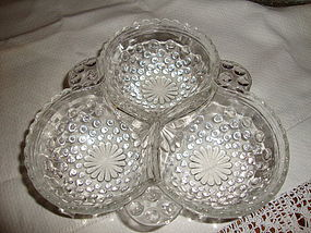 Anchor Hocking Clear Hobnail Cloverleaf Dish