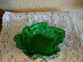 Forest Green Leaf Candy Dish