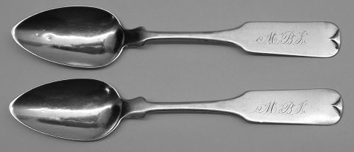 Pair of Early Chicago Coin Silver Spoons c1850-54 by Samuel Hoard & Co