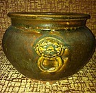 Late Ming Early Qing Brown Glaze Mask Censer