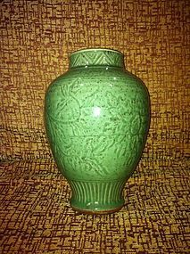 Yuan celadon glazed and incised stoneware meiping jar