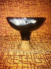 Chinese Song black glazed type stem cup
