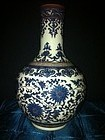 Chinese Qing blue and white tianchewping vase