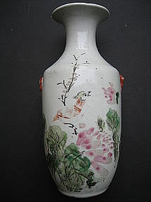China Republic Era Vase with flora, bird & calligraphy
