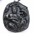 Black Green Jade Stone carving Goddess of Mercy