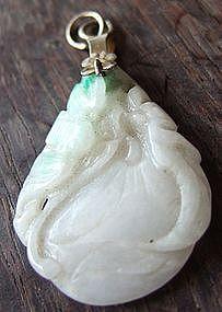 Chinese Jade Pendant with Prunus and Bat