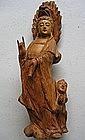 Wood Carving of Guan Kwan Yin Statue