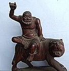 Chinese Wood Carving of Monk & Tiger