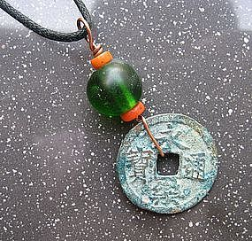 Chinese Antique Beads and Coin Pendant