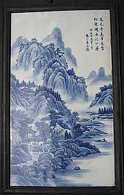 Blue & White Landscape Painting Panel