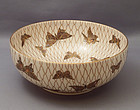 Japanese Satsuma bowl with butterfly motif--Signed
