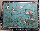 Large cloisonne on Arita porcelain plaque by Chubei