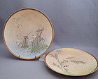 Pair of signed bird motif Satsuma earthenware plates