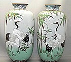 Nice pair of cloisonne vases with cranes
