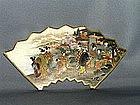 Fan shaped Satsuma plaque