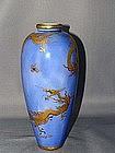 Porcelain Satsuma vase with dragons by Kinkozan