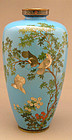 Japanese cloisonne vase with doves by Ota
