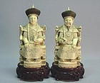 EARLY 20TH C. CHINESE IVORY CARVING OF A ROYAL COUPLE