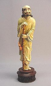 CHINESE MULTI-COLOR IVORY CARVING OF TIE GUAI LI