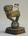 19th C. CHINESE EXPORT ENAMEL & SILVER FILIGREE FOO DOG
