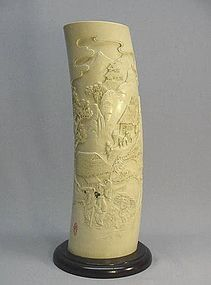 JAPANESE CARVED IVORY TUSK OF VILLAGE SCENERY