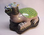 19TH C. CHINESE CLOISONNE STATUE OF A MYTHICAL ANIMAL