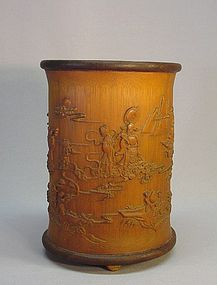 CHINESE CARVED BAMBOO BRUSH HOLDER