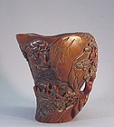 CHINESE EARLY 20TH HARDWOOD CARVED CUP