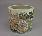 CHINESE PORCELAIN FAMILLE ROSE BRUSH POT