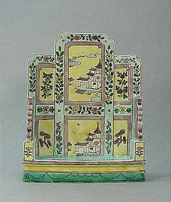 CHINESE EARLY 20TH C. CERAMIC TABLE SCREEN