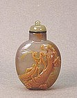CHINESE CARVED AGATE SNUFF BOTTLE