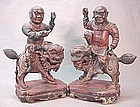 A PAIR OF CHINESE CARVED WOOD STATUES