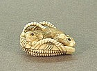 JAPANESE CARVED IVORY NETSUKE OF TWO MICE IN A BASKET