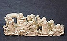 JAPANESE 19TH CENTURY IVORY OKIMONO OF 6 IMMORTALS