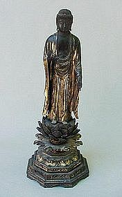 18TH C. JAPANESE GOLD GILT WOOD BUDDHA