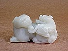 CHINESE CARVED NEPHRITE LIONESS AND CUB
