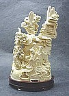 EARLY 20TH C. CHINESE CARVED IVORY SCENE
