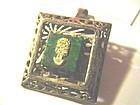 Ornate Peruvian 18k + Sterling Malachite TUMI Pendant