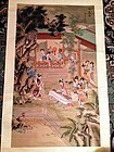 Chinese Scroll on Silk~ Court Scene